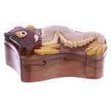 Handcrafted Wooden Dragon Animal Shape Secret Jewelry Puzzle Box - Dragon