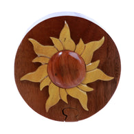Handcrafted Wooden Round Shape Sun & Sunshine Secret Jewelry Puzzle Box - Sun