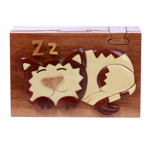 Handcrafted Wooden Rectangular Sleeping Kitty Secret Jewelry Puzzle Box - Sleeping Cat