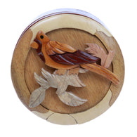 Lovely Bird Handcrafted Wooden Round Shape Secret Jewelry Puzzle Box - Bird