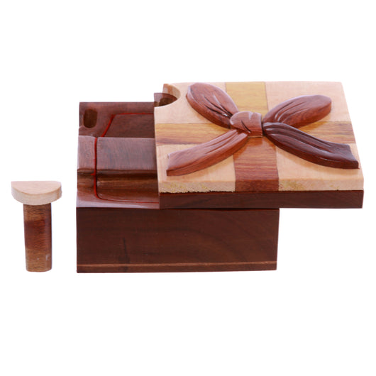 Handcrafted Wooden Square Gift Box Shape Secret Jewelry Puzzle Box Gift Box