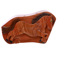 Handcrafted Wooden Running Horse Secret Jewelry Puzzle Box - Running Horse