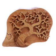 Handcrafted Tree Of Love Wooden Secret Jewelry Puzzle Box - Frondent Tree