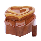 Double Interlink Entwined Hearts Handcrafted Wooden Secret Jewelry Puzzle Box - Hearts