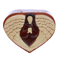 Nun With Wings Handcrafted Wooden Heart Shape Secret Jewelry Puzzle Box - Nun