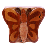 Butterfly Handcrafted Wooden Secret Jewelry Puzzle Box - Butterfly