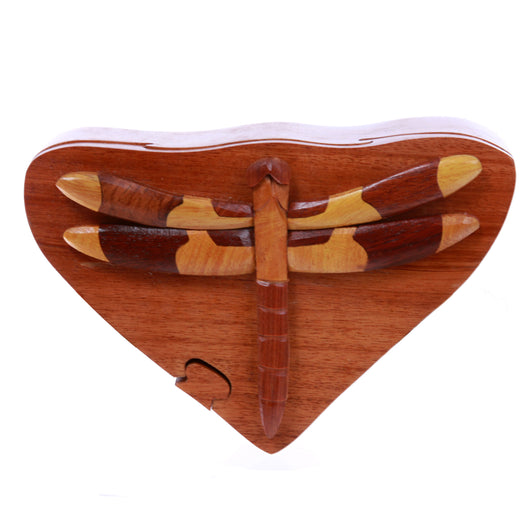 dragonfly Handcrafted Wooden Secret Jewelry Puzzle Box -Dragonfly
