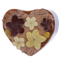 Handcrafted Wooden Flowers Heart Shape Oval Secret Jewelry Puzzle Box - Flowers & Heart