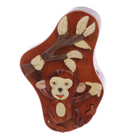 Handcrafted Wooden Monkey & Tree Shape Secret Jewelry Puzzle Box - Monkey