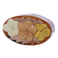 Handcrafted Wooden Flowers Shape Oval Secret Jewelry Puzzle Box - Flowers