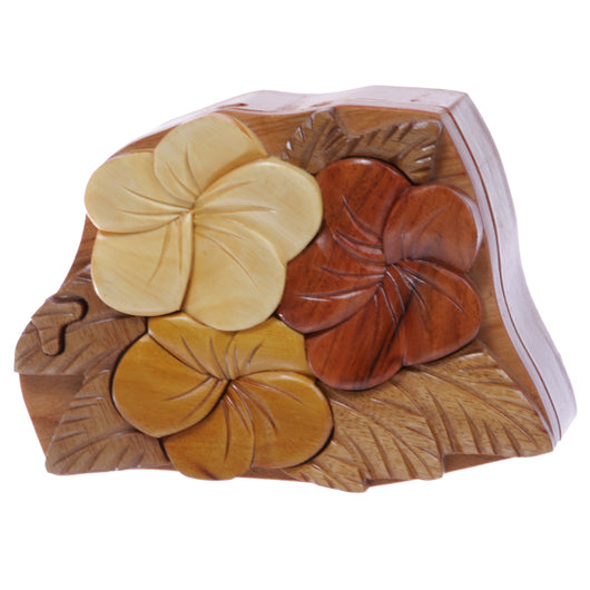 Handcrafted Wooden Flowers Shape Secret Jewelry Puzzle Box - Flowers