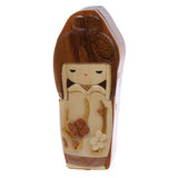 Handcrafted Wooden Japanese Doll Secret Jewelry Puzzle Box - Doll