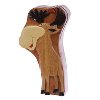 Handcrafted Wooden Deer Shape Oval Secret Jewelry Puzzle Box - Deer