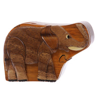 Handcrafted Wooden Elephant Shape Secret Jewelry Puzzle Box - Elephant