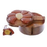 Handcrafted Wooden Beatle & Flower Round Shape Secret Jewelry Puzzle Box - Beatle & Flower
