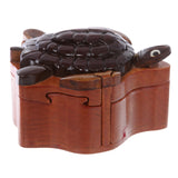 Handcrafted Wooden Animal Shape Secret Jewelry Puzzle Box - Turtle