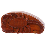 Handcrafted Wooden Animal Shape Secret Jewelry Puzzle Box -Scorpion