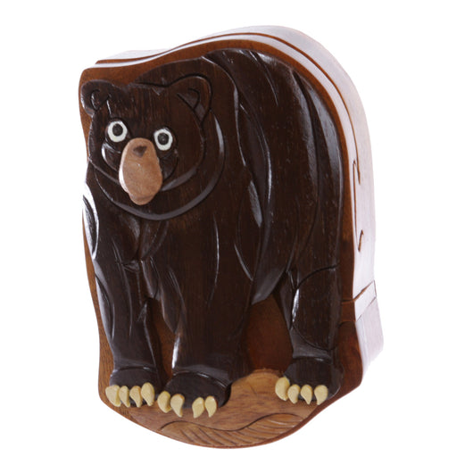 Handcrafted Wooden Animal Bear Shape Secret Jewelry Puzzle Box - Bear