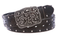 Women's Studded Western Floral Perforated Embossed Leather Belt