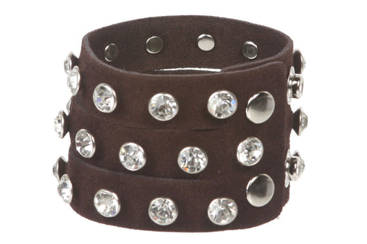 Rhinestone Leather Wristband Bracelet