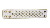 "1 3/4"" (45 mm) Alligator Rhinestone Studded Leather Wristband Bracelet"