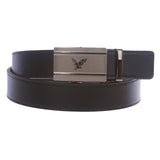 Men's Plain Leather Slide Ratchet Dress Belt with Eagle Design Automatic Buckle