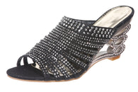 JOHN FASHION Rhinestone Evening Slide Sandal