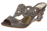 JOHN FASHION Rhinestone Perforated Slide Sandal