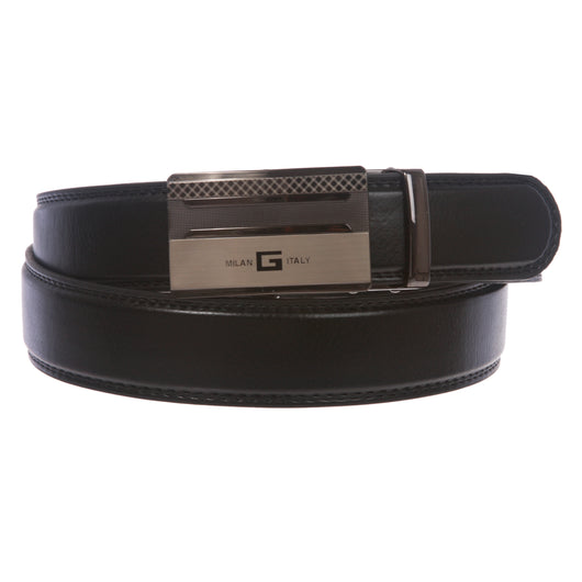 Men's Plain Leather Slide Ratchet Dress Belt with Automatic Buckle