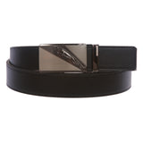 Men's Plain Leather Slide Ratchet Dress Belt with Jaguar Design Automatic Buckle