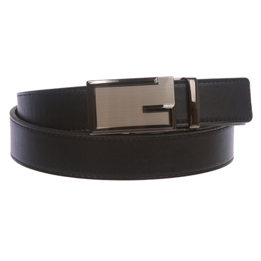 Men's Plain Leather Slide Ratchet Dress Belt with G Design Automatic Buckle