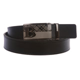 Men's Plain Leather Slide Ratchet Dress Belt with B Design Automatic Buckle