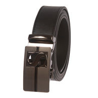 Men's Plain Leather Slide Ratchet Dress Belt with S Design Automatic Buckle
