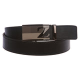 Men's Plain Leather Slide Ratchet Dress Belt with Z Design Automatic Buckle