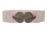 "3"" Wide High Waist Fashion Stretch Belt With Feather Shaped Buckle"