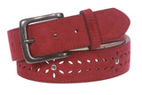 "Women's 1 1/2"" (38 mm) Snap on Suede Perforated Studded Leather Belt"