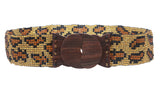 "2 1/4"" Beaded Stretch Belt with Polished Wood Buckle"