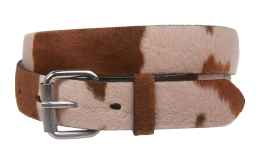 Snap On Cow Print Leather Belt