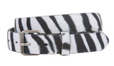 Snap On Zebra Print Leather Belt