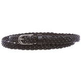 "Women's 5/8"" (16 mm) Skinny Narrow Braided Woven Solid Leather Dress Belt"