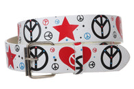 Snap On Peace Sign Printed Fashion Belt