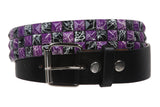 "Snap On 1 1/2"" Purple & Black Checkerboard Punk Rock Studded Belt"