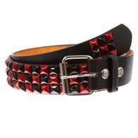 Snap On Punk Rock Black & Red Studded Leather Belt