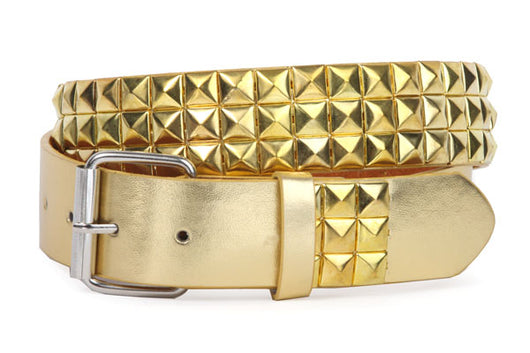 Snap On Punk Rock Gold Star Studded Gold Leather Belt