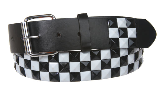 Snap On Punk Rock Black & White Star Studded Checker Board Pattern Leather Belt