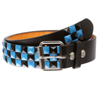Snap On Punk Rock Black & Azure Blue Star Studded Checker Board Leather Belt