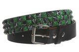 "Snap On 1 1/2"" Green & Black Checkerboard Punk Rock Studded Belt"