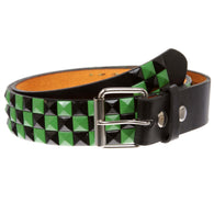 Snap On Punk Rock Black & Green Star Studded Checker Board Leather Belt
