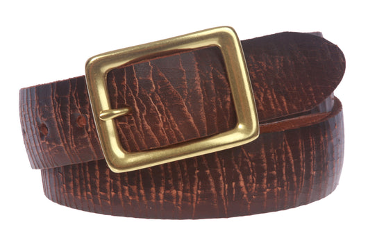 Snap On Crack Finish Oil Tanned Full Grain Leather Rectangular Jean Belt