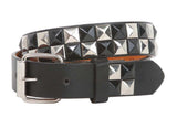 "Kids 1"" Snap On Punk Rock Black & Silver Star Studded Checkerboard Leather Belt"